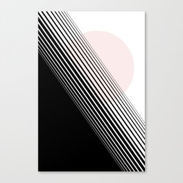 Rising Sun Minimal Japanese Abstract White Black Blush Pink Canvas Print
