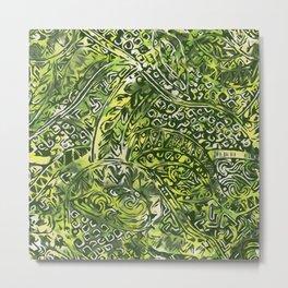Hawaiian Green Ancient Pattern Metal Print