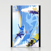 snowboarding Stationery Cards featuring Snowboarding by Robin Curtiss