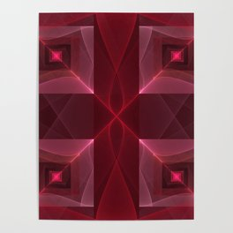 Graphic Design, Modern Luminous Fractal Pattern Poster