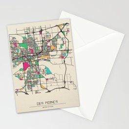 Colorful City Maps: Des Moines, Iowa Stationery Cards