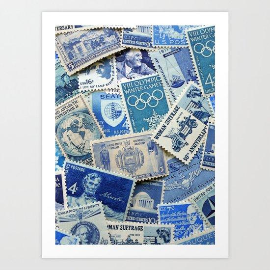 Vintage Postage Stamp Collection - 02 (Blues) Art Print