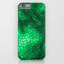 Stained glass texture of snake green leather with bright heat spots. iPhone Case