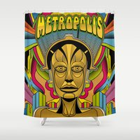 metropolis Shower Curtains featuring Metropolis Pop by Roberlan Borges