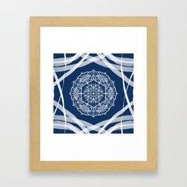 Mandala art design white navy blue pattern Framed Art Print