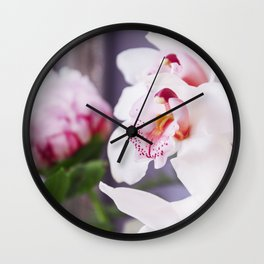 White and Pink Orchid Flower Wall Clock