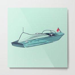 Vintage Wooden Speed Boat Cruiser IV - Susanne Johnson Art Metal Print