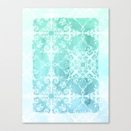 Mermaid's Lace - White Patterned Aqua / Mint Watercolor Wash Canvas Print