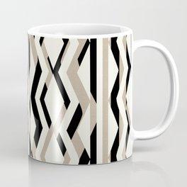 Abstract Cream Brown Black Geometric Pattern Coffee Mug