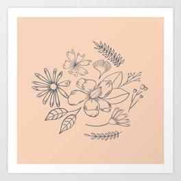 Pink Minimalist Flower | Mid-century Modern Botanical Flower | Boho  Art Print