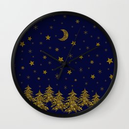 Sparkly Christmas tree, moon, stars Wall Clock