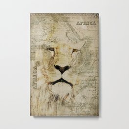 Lion Vintage Africa old Map illustration Metal Print