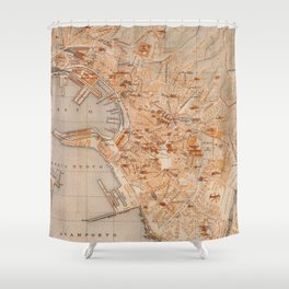 Vintage Map of Genoa Italy (1906) Shower Curtain