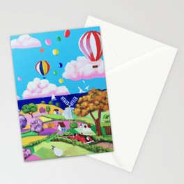 Folk art painting - happy seaside Stationery Cards