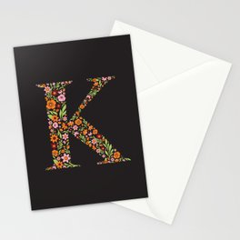 Retro Floral Letter K Stationery Cards