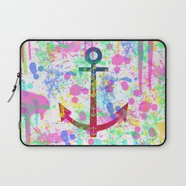 Modern abstract colorful watercolor nautical anchor splatters Laptop Sleeve