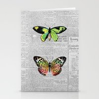 newspaper Stationery Cards featuring Newspaper and Butterflies by Juliana Zimmermann