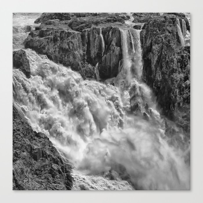 Black and White Beautiful Waterfall Canvas Print