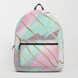 Girly Watercolor Pink Teal Purple Gold Brushstroke Backpack