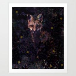 Fox & Fireflies Art Print