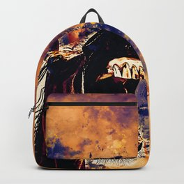 horse hilarious big mouth watercolor splatters late sunset Backpack