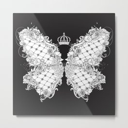 decorated butterfly with crown in baroque style Metal Print
