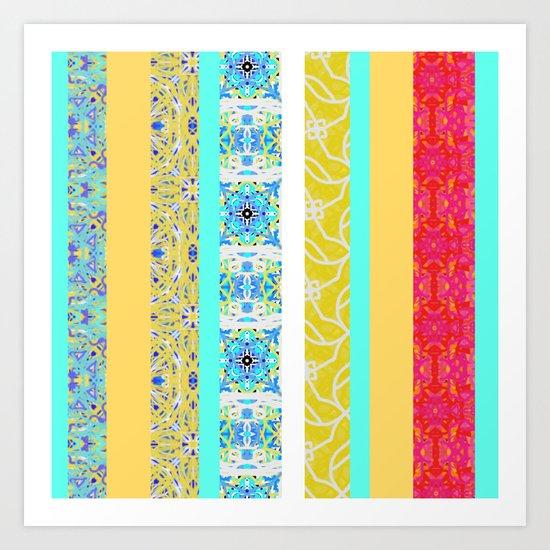 Ocean Pattern Stripes Art Print