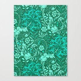 Art Nouveau Seaweed Floral, Turquoise and Aqua Canvas Print