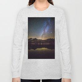Galaxy Behind the Mountain Long Sleeve T-shirt
