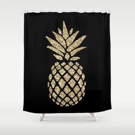 Gold Glitter Pineapple Shower Curtain