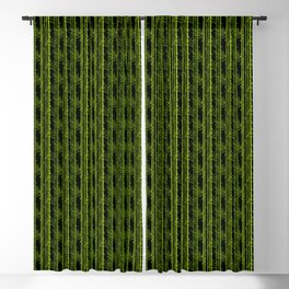 Green Bamboo Shoots and Leaves Pattern on Black Blackout Curtain