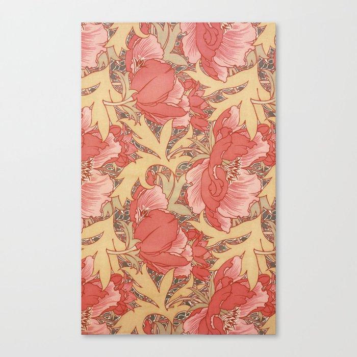 William Morris Poppies Floral Art Nouveau Pattern Leinwanddruck