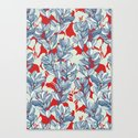 Leaf and Berry Sketch Pattern in Red and Blue by micklyn