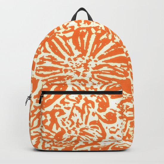 Marigold Lino Cut, Tangerine Orange Backpack