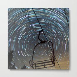 Chair Lift Spiral Metal Print