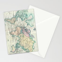 Vintage Map of The World (1801) Stationery Cards
