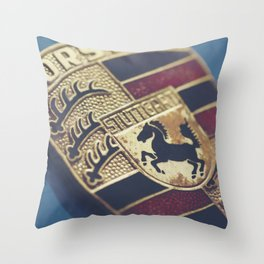 Porshe crest, macro photography for sport car wall art and mancave decor, 911, 912 german auto Throw Pillow