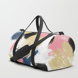 Modern pink gold navy geometric abstract brushstrokes pattern Duffle Bag