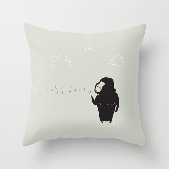 The Happy Dandelion Throw Pillow