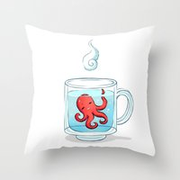 tea Throw Pillows featuring Octopus Tea by Freeminds