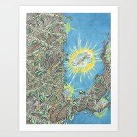 fairies Art Prints featuring Fairies by David Domike