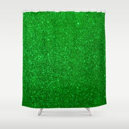 Emerald Green Shiny Metallic Glitter Shower Curtain