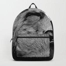 happy fox smiling v2 vector art black white Backpack