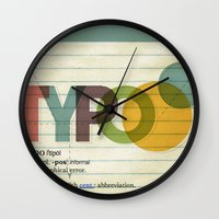 typo Wall Clocks featuring typo by Vin Zzep