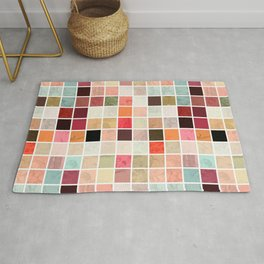 Vintage shabby chic pink teal mosaic painting Rug
