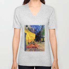 The cafe terrace on the place du forum, Arles, at night, by Vincent van gogh.  Unisex V-Neck