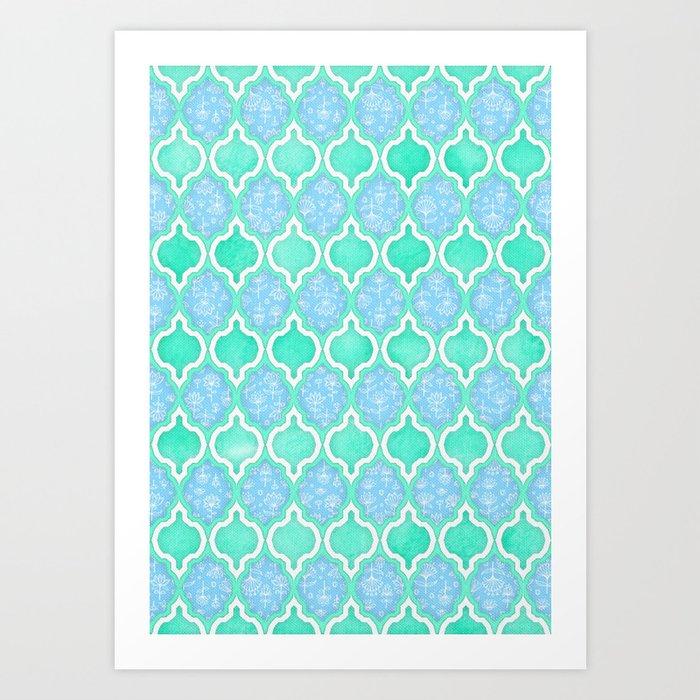 Moroccan Aqua Doodle pattern in mint green, blue & white Art Print