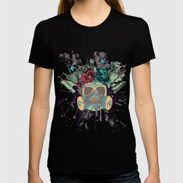 Green Gas Mask with Roses T-shirt