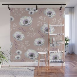 Anemones IV: pattern beige Wall Mural