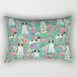 Brittany Spaniel florals pattern dog gifts for dog lovers cute puppies pet portrait Rectangular Pillow